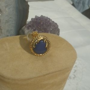 A Cute Ring with Blue Enamel and Filigree